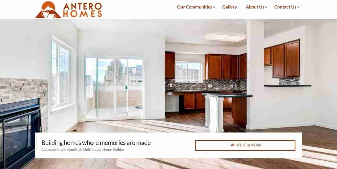 antero homes website homepage